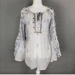 Urban Outfitters Ecote Top Bell Sleeve Embroidered